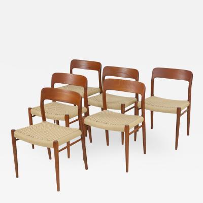 Niels Otto M ller Set of Six Teak Scandinavian Modern Dining Chairs by Niels Moller