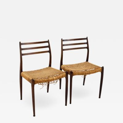 Niels Otto Moller Mid Century Danish Rosewood Dining Chairs Pair