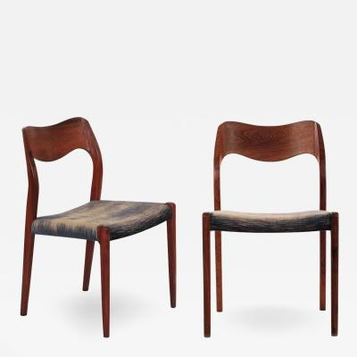 Niels Otto Moller Pair of Niels M ller Rosewood No 71 Side Chairs c 1960s