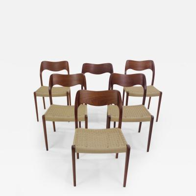 Niels Otto Moller Set of Six Danish Modern Teak Dining Chairs Designed by Niels Moller