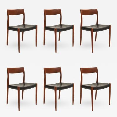 Niels Otto Moller Six Niels Moller Teak Dining Chairs Model 77