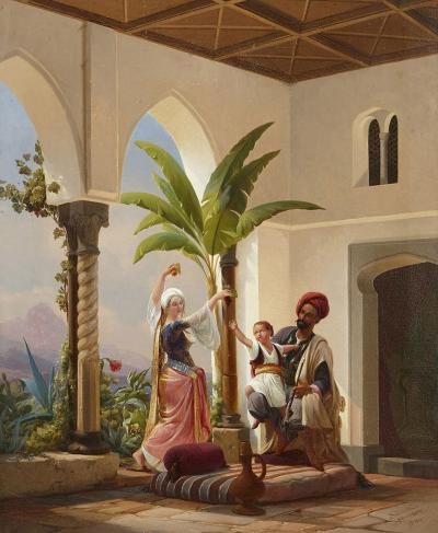 Niels Simonsen Orientalist painting of parents playing with their son by Simonsen