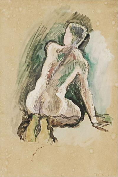 Niels William Scharff William Scharff Painting Nude back turned man Modernist painting Danish art