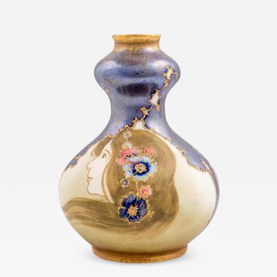 Nikolaus Kannh user Amphora Portrait Vase Art Nouveau Maiden with Flowers Nikolaus Kannh user