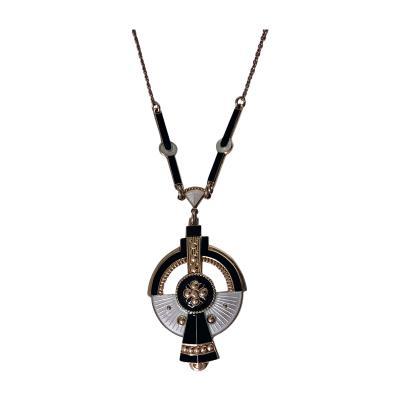 Nils Elvik Art Deco Enameled Silver Necklace Norway C 1930 Nils Elvik