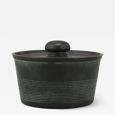 Nils Fougstedt Art Deco Lidded Box in Patinated Bronze by Nils Fougstedt