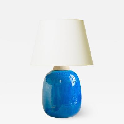 Nils Kahler Large Mod Table Lamp with Azure Glaze by Nils Kahler