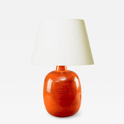 Nils Kahler Magnificent Danish Modern orange table lamp by Nils Kahler