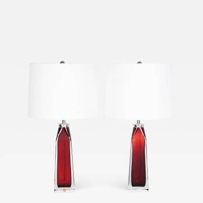 Nils Landberg Nils Landberg for Orrefors ruby red and clear glass table lamps circa 1950s