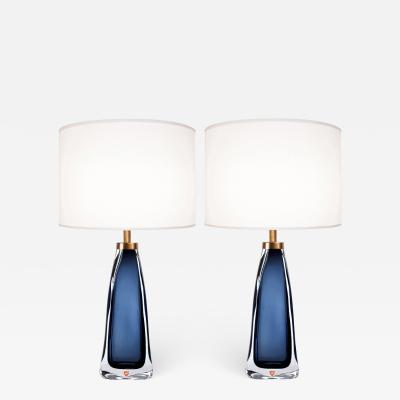 Nils Landberg Pair of Nils Landberg for Orrefors Blue Glass Lamps