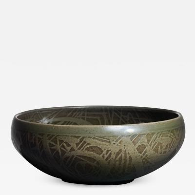 Nils Thorsson Nils Thorsson green ceramic bowl for Royal Copenhagen 1950s
