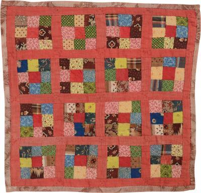 Nine Patch Doll Quilt Circa 1880 Pennsylvania
