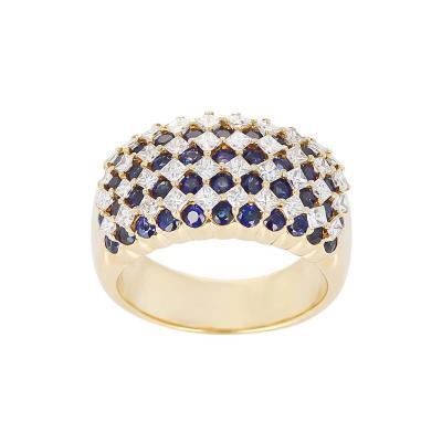 Nine Row Sapphire and Diamond Cocktail Ring 18 Karat Yellow Gold