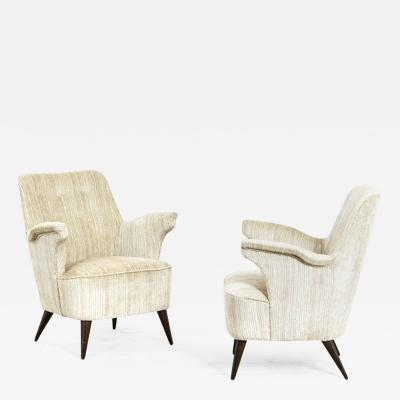 Nino Zoncada Nino Zoncada Pair of Armchairs in Wooden and Fabric Upholstery
