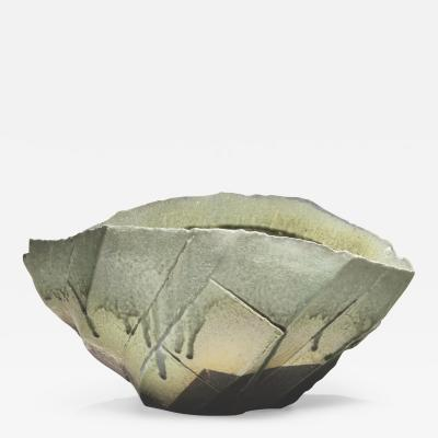 Nishihata Tadashi Tamba glazed horizontal vessel