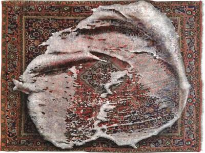 No mi Kiss FOAM ON RUG wallpiece tapestry artwork