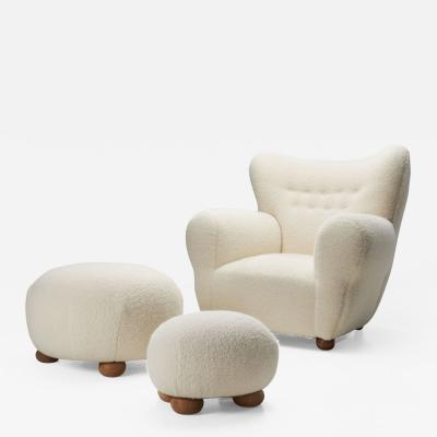 Nordic Modern Armchair and Ottomans with Bun Feet Scandinavia ca 1950s