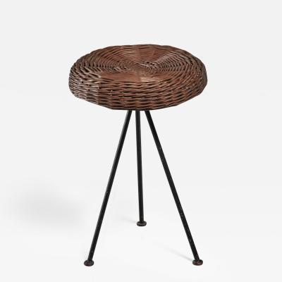 Norman Cherner Norman Cherner Iron with Rattan Stool for Konwiser USA 1950s