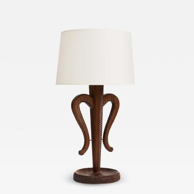 North European Carved Wood Table Lamp