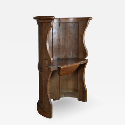 Northern European Baroque 17th Century Barrel Back Seat or pew