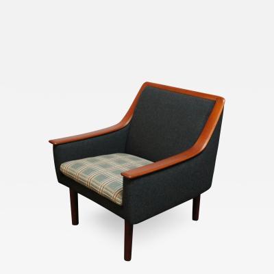 Norwegian Modern Exposed Teak Lounge Chair with Original Upholstery