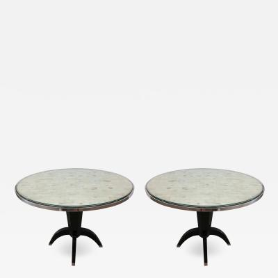 Not Available Oval Side Tables with Mother of Pearl Top and Black Lacquered Base