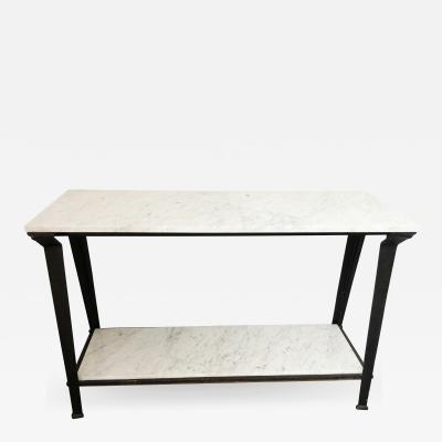 Not Available Steel and Carrara Marble Console Table