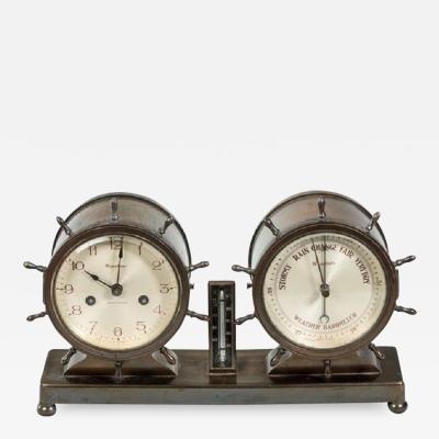 Novelty nautical clock and barometer set