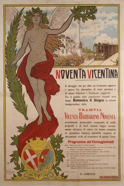 Noventa Vicentina Large Italian Art Nouveau Period One Day Event Poster 1911