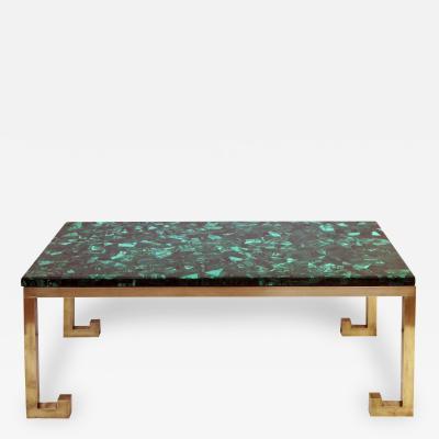 Nucci Valsecchi Italian Brass Table Base with Malachite Top Designed by Nucci Valsecchi