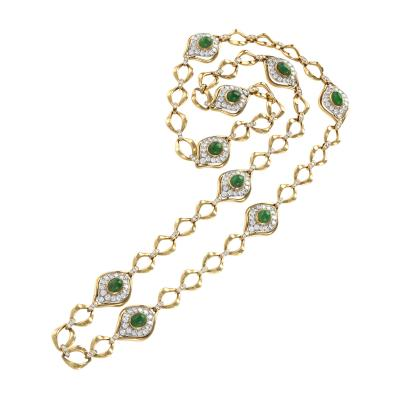 O J Perrin O J Perrin Paris Diamond Emerald Gold and Platinum Link Necklace