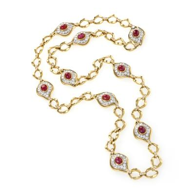O J Perrin O J Perrin Paris Diamond Ruby Gold and Platinum Link Necklace