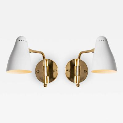 O Luce Pair of 1950s Giuseppe Ostuni Articulating Arm Sconces for O Luce