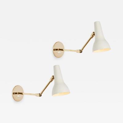 O Luce Pair of 1950s Giuseppe Ostuni Articulating Wall Lamps for O Luce