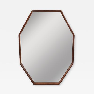 OCTAGONAL WALNUT SURROUND MIRROR