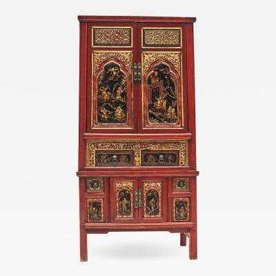 ORIGINAL DECORATED RED GILT LACQUERED CABINET FROM FUJIAN PROVINCE
