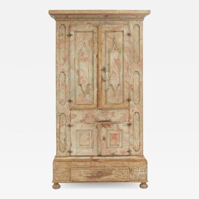 ORIGINAL FAUX MARBLE PAINTED BAROQUE CABINET FROM H LSINGLAND SWEDEN