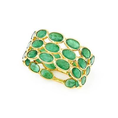 OVAL EMERALD TRIPLE LAYER BAND 18K GOLD