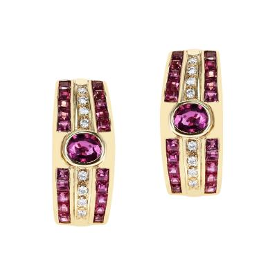 OVAL RUBY AND INVISIBLY SET SQUARE RUBY AND ROUND DIAMOND EARRINGS 18K GOLD