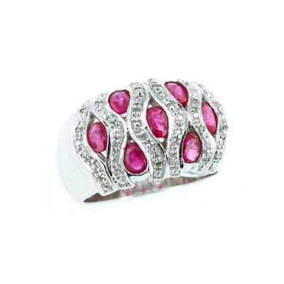 OVAL RUBY WITH DIAMOND SWIRLS RING 18K WHITE GOLD
