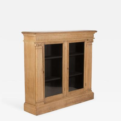 Oak Bookcase with Two Glass Doors