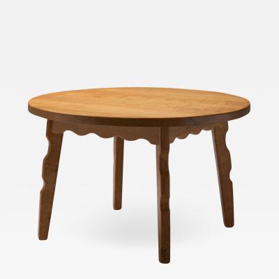 Oak Coffee Table with Sculptural Legs by Danish Cabinetmaker Denmark 1950s