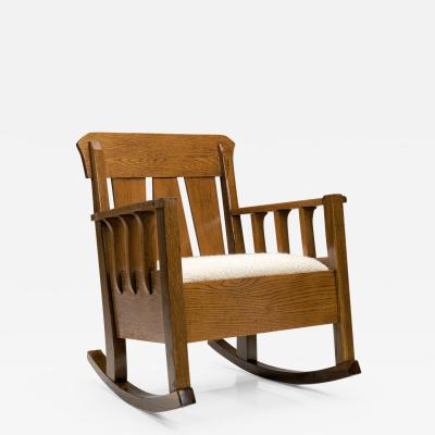 Oak Jugend Rocking Chair Europe ca 1920s