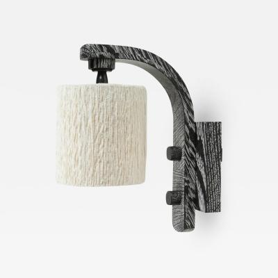 Oak Sconce with Cotton Chenille Shade