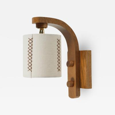 Oak Sconce with Hand Stitched Linen Shade