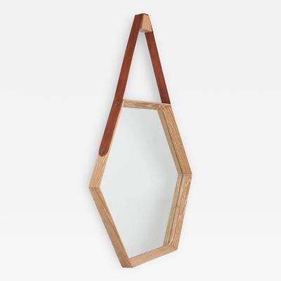 Oak and Leather Hexagon Mirror Natural