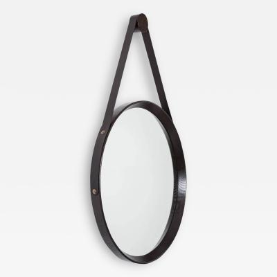 Oak and Leather Round Mirror Ebony