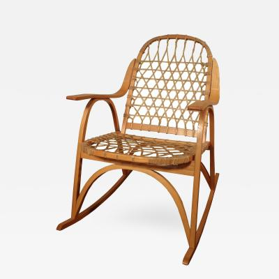 Oak and Rawhide Snow Shoe Rocking Chair