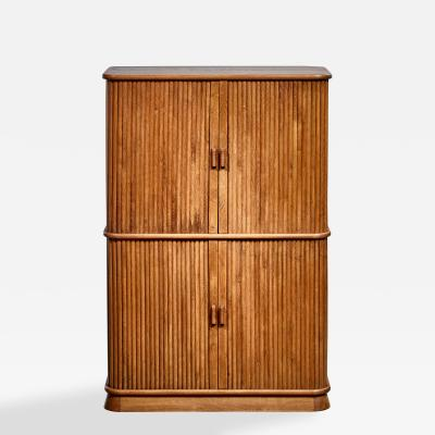 Oak cabinet with tambour doors Denmark 1940s