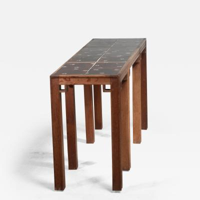 Oak console table with ceramic tile top